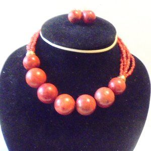 Brown Wood Bead Necklace and Matching Earrings